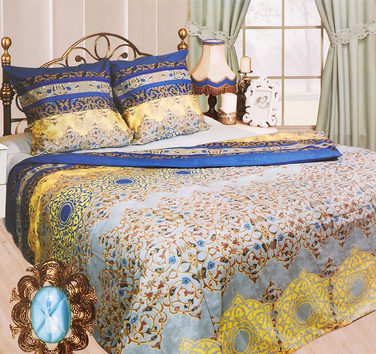 Комплект белья Sova & Javoronok Марракеш, евро, наволочки 70х70, цвет: голубой, синий, бежевый2030115098Комплект постельного белья Sova & Javoronok Марракеш является экологически безопасным для всей семьи, так как выполнен из бязи (100% натурального хлопка). Комплект состоит из пододеяльника, простыни и двух наволочек. Предметы комплекта оформлены изящным узором.Бязь - хлопчатобумажная ткань полотняного переплетения без искусственных добавок. Большое количество нитей делает эту ткань более плотной, более долговечной. Высокая плотность ткани позволяет сохранить форму изделия, его первоначальные размеры и первозданный рисунок. Легко стирается и хорошо гладится.
