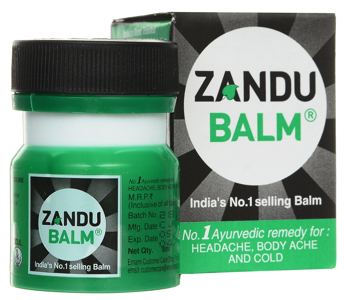 Zandu бальзам, 8 мл701105Почти мгновенно снимает головную боль, а также боли при растяжении, ушибе, ревматизме.Срок годности: 3 года.