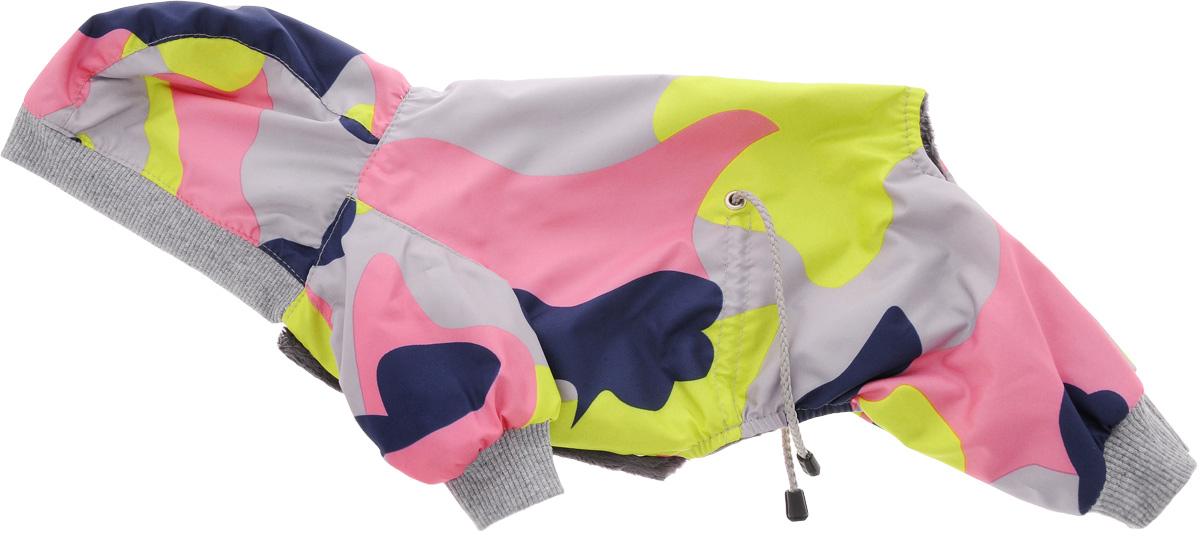 Комбинезон для собак Yoriki Камуфляж, унисекс. Размер S336-01Комбинезон для собак Yoriki Камуфляж отлично подойдет для прогулок в прохладную погоду осенью или весной. Верх комбинезона выполнен из водоотталкивающего полиэстера с принтом под цветной камуфляж. Подкладка изготовлена из мягкой вискозы. Капюшон снабжен резинкой, благодаря чему его легко одевать и снимать. Капюшон не отстегивается. Низ рукавов и брючин оснащен широкими стильными манжетами. Застегивается комбинезон на животе на кнопки и дополнительно на пояснице затягивается шнурком. Благодаря такому комбинезону вашему питомцу будет комфортно наслаждаться прогулкой.Длина по спинке: 20 см. Обхват шеи: 24 см. Одежда для собак: нужна ли она и как её выбрать. Статья OZON Гид