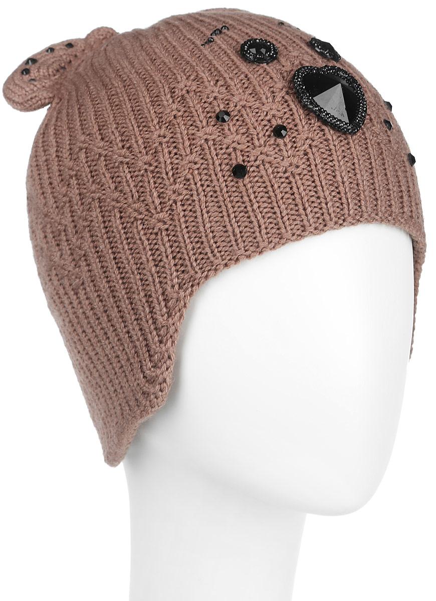 Шапка женская Flioraj, цвет: светло-коричневый. 434. Размер 56/58434Оригинальная женская шапка Flioraj дополнит ваш наряд и не позволит вам замерзнуть в холодное время года. Шапка выполнена из высококачественной комбинированной пряжи из шерсти и акрила, что позволяет ей великолепно сохранять тепло и обеспечивает высокую эластичность и удобство посадки. Шапка оформлена крупными блестящими стразами, образующими мордочку медвежонка, и дополнена небольшими вязаными медвежьими ушками сверху.Такая шапка станет модным и стильным дополнением вашего зимнего гардероба, великолепно подойдет для городских прогулок, а также активного отдыха и занятия спортом. Она согреет вас и позволит подчеркнуть свою индивидуальность! Уважаемые клиенты! Обращаем ваше внимание на тот факт, что размер, доступный для заказа, является обхватом головы.