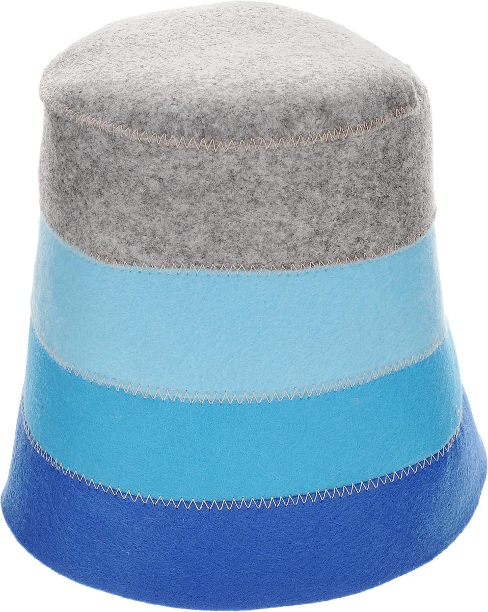 Шапка для бани и сауны Доктор баня В полоску, цвет: синий, голубой, серый
