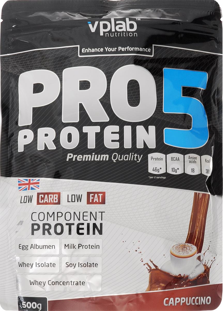 Протеин Vplab PRO 5, капучино, 500 г351819Протеин Vplab PRO 5 - пятикомпонентная белковая смесь. Концентрация 80%. У каждого из этих белков своя скорость усвоения, что способствует постоянному и равномерному поступлению аминокислот в кровь на протяжении более чем 5 часов. Этот протеиновый коктейль создан как дополнение к питанию с целью увеличения количества белка в дневном рационе.Для нормальной работы всех систем организма человеку требуется 2-4 г белка на килограмм веса в сутки.Молочный белок (казеин): снабжает мышцы протеином в течение долгого времени, содержит Л-глютамин. Концентрат сывороточного протеина: быстроусваиваемый протеин с высоким содержанием ВСАА, повышает количество свободных аминокислот в крови. Изолят соевого протеина: наилучший растительный протеин высшей очистки, не содержит ГМО. Изолят сывороточного протеина: высококачественный белок с наивысшей биологической ценностью и функциональной многосторонностью. Яичный белок (альбумин): натуральный гидролизованный яичный белок высокой биологической ценности.В PRO 5 очень низкое количество жиров и углеводов, что в сочетании с пятикомпонентным высококачественным белком делает его отличным компонентом любой тренировочной программы. Продукт эффективно стимулирует прирост сухой мышечной массы и существенное увеличение силовых показателей.Рекомендации по применению: PRO 5 целесообразно применять между приемами пищи, после тренировки и на ночь. Постоянное поступление аминокислот очень важно для построения мускулатуры!Рекомендации по приготовлению: 30 г порошка (2 столовые ложки, коктейль должен быть густым) растворить в 300 мл молока до 1,5% жирности. Товар сертифицирован. Как повысить эффективность тренировок с помощью спортивного питания? Статья OZON Гид