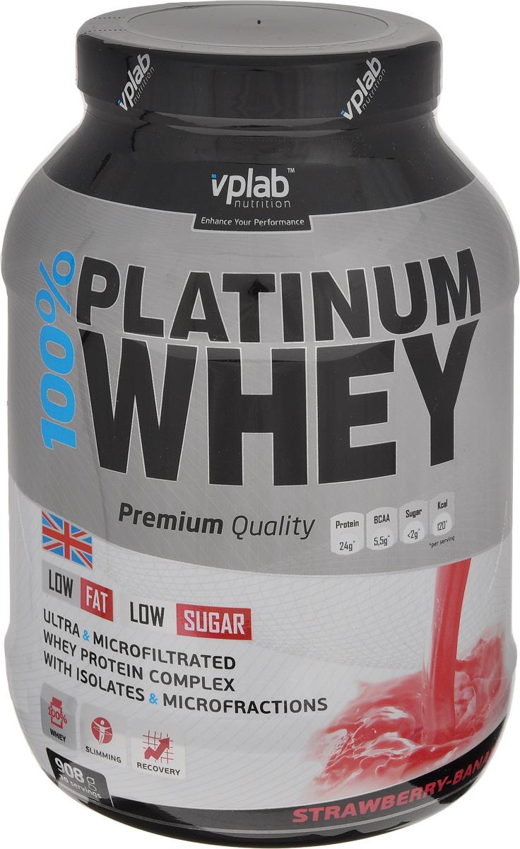 Протеин Vplab 100% Platinum Whey, клубника, 908 г протеин prime kraft whey клубника банан