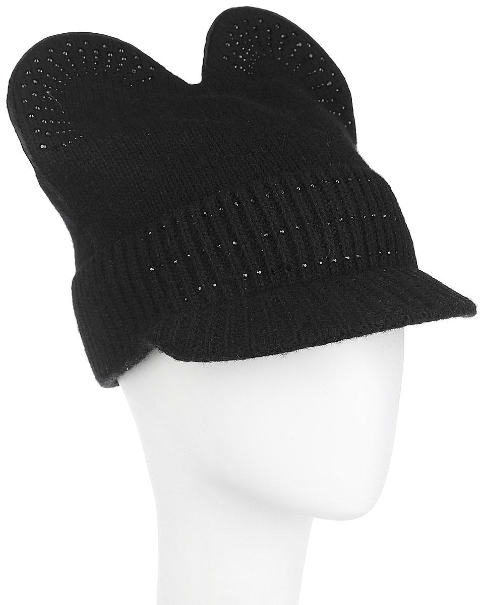 Шапка женская Flioraj, цвет: черный. 438. Размер 56/58438Оригинальная женская шапка Flioraj дополнит ваш наряд и не позволит вам замерзнуть в холодное время года. Шапка выполнена из высококачественной комбинированной пряжи из шерсти ягненка и полиамида, что позволяет ей великолепно сохранять тепло и обеспечивает высокую эластичность и удобство посадки. Шапка оформлена большими круглыми вязаными ушками сверху и украшена сверкающими стразами. Модель дополнена небольшим закругленным козырьком, который защитит ваши глаза от солнца.Такая шапка станет модным и стильным дополнением вашего зимнего гардероба, великолепно подойдет для активного отдыха и занятия спортом. Она согреет вас и позволит подчеркнуть свою индивидуальность! Уважаемые клиенты! Обращаем ваше внимание на тот факт, что размер, доступный для заказа, является обхватом головы.