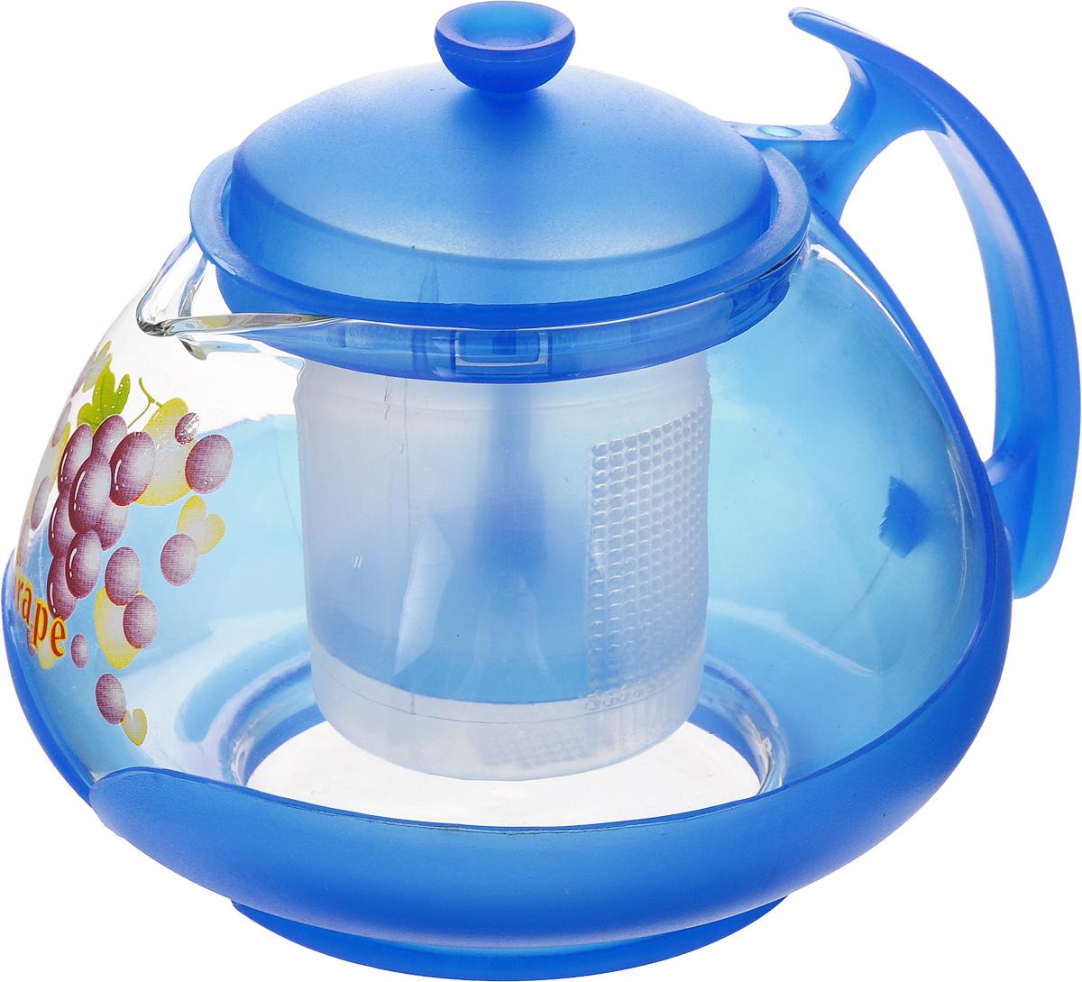 Чайник заварочный Mayer & Boch, с фильтром, цвет: прозрачный, синий, 700 мл. 20222022_прозрачный, синийЗаварочный чайник Mayer & Boch изготовлен из жаропрочного стекла и полипропилена. Изделие оснащено сетчатым фильтром из пищевого полипропилена (пластика), который задерживает чаинки и предотвращает их попадание в чашку, а прозрачные стенки дадут возможность наблюдать за насыщением напитка.Чай в таком чайнике дольше остается горячим, а полезные и ароматические вещества полностью сохраняются в напитке. Диаметр чайника (по верхнему краю): 8 см.Высота чайника (без учета крышки): 9,5 см.Высота фильтра: 6,5 см.