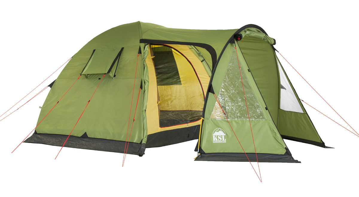 Палатка KSL Campo 4 Plus6153.4201Летняя кемпинговая палатка CAMPO 4 PLUS отлично подойдет для похода на природу вчетвером. Полусферическая палатка включает в себя внутреннюю комнату и просторный тамбур, в котором удобно хранить вещи, кухонную утварь и обувь. В палатке предусмотрено два входа, в комплекте для них имеется москитная сетка. Тент палатки выполнен из полиэстера водостойкостью 2500 мм водяного столба, дно - из полиэтилена водостойкостью 3000 мм водяного столба. Герметизированные швы не позволят попасть в палатку дождю и задерживают сквозняки, обеспечивая комфортный отдых в любую погоду. Материал тента устойчив к ультрафиолетовым лучам и пропитан огнеупорным веществом. Крепкий внутренний каркас состоит из стальных стоек, придающих палатке CAMPO 4 PLUS отличную устойчивость и сопротивляемость ветру. Дуги из стеклопластика делают палатку более легкой не в ущерб надежности. Палатка хорошо проветривается благодаря вентиляционным окнам. В этой палатке производитель продумал все до мелочей: хранить вещи можно в удобных внутренних карманах и на подвесных полках, в наличии имеется также крепеж для фонарика. Отдых в палатке CAMPO 4 PLUS от KSL будет удобным и комфортным и оставит незабываемые впечатления о лете. Вес: 10.4 кг. Количество мест: 4. Сезонность: лето. Размер: 390 x 240 x 195 см. Размер в чехле: 28 х 70 см. Материал тента: Polyester 190T PU 2500 mm. Материал дна: Polyethylene 3000 mm. Внутренняя палатка: есть. Материал дуг: Fib 11 mm Steel 16mm. Ветроустойчивость: низкая. Количество входов: 3. Область применения: кемпинг.Пропитка, задерживающая распространение огня. Швы герметизированы термоусадочной лентой. Узлы палатки, испытывающие высокие нагрузки, усилены более прочной тканью. Край тента обшит прочной стропой. Молнии на внешнем тенте фиксируются алюминиевым крючком. Большой тамбур для вещей. Цвет: зеленый. Материал: Polyester 190T PU, polyethylene.Что взять с собой в поход?. Статья OZON Гид