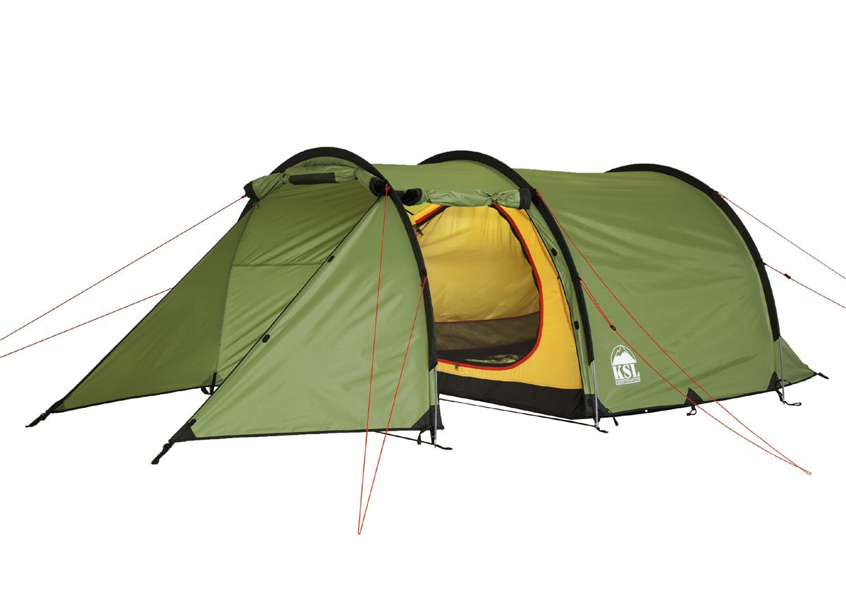 Палатка KSL Half Roll 36124.3401Трехместная палатка-полубочка HALF ROLL 3 от KSL сделает отдых на природе легким и приятным. Конструкция палатки, состоящей из большой внутренней комнаты и огромного тамбура, свободно вмещающего велосипеды, походную кухню и массивные рюкзаки, позволяет чувствовать себя комфортно. Материал внешнего тента и пола отлично защищает от влаги и ветра, а проклеенные швы не допускают проникновения внутрь палатки капель воды. Дно усилено стропой, придающей дополнительную прочность. Молнии палатки застегиваются на алюминиевые крючки. HALF ROLL 3 имеет эффективную систему вентиляции, а три входа, защищенных антимоскитными сетками, обеспечивают хороший приток воздуха в летний зной. Необходимые под рукой мелкие предметы можно с удобством разместить в четырех карманах, имеющихся в наличии внутри палатки. Также у модели присутствует кольцо для крепления фонарика. Благодаря легким дугам, формирующим каркас палатки, она имеет небольшой вес, что позволяет брать ее в дальние походы на велосипедах или пешком. Вес: 4,8 кг. Количество мест: 3. Сезонность: весна-осень. Размер: 410 x 180 x 120 см. Размер в чехле: 23 х 50 см. Материал тента: Polyester 190T PU 2500 mm. Материал дна: Polyester 150D Oxford PU 3000 mm.Внутренняя палатка: есть. Материал дуг: Durapol 8.5 mm. Ветроустойчивость: средняя. Количество входов: 3. Область применения: трекинг.Пропитка, задерживающая распространение огня. Швы герметизированы термоусадочной лентой. Узлы палатки, испытывающие высокие нагрузки, усилены более прочной тканью. Край тента обшит прочной стропой. Молнии на внешнем тенте фиксируются алюминиевым крючком. Внутренняя палатка оснащена противомоскитной сеткой, четырьмя карманами, кольцом для фонаря. Большой тамбур для вещей или походной кухни. Цвет: зеленый. Материал: polyester 190T PU, polyester 150D Oxford PU.