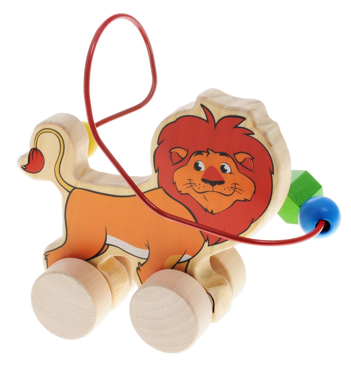 Мир деревянных игрушек Лабиринт-каталка Лев мир деревянных игрушек конструктор каталка полиция