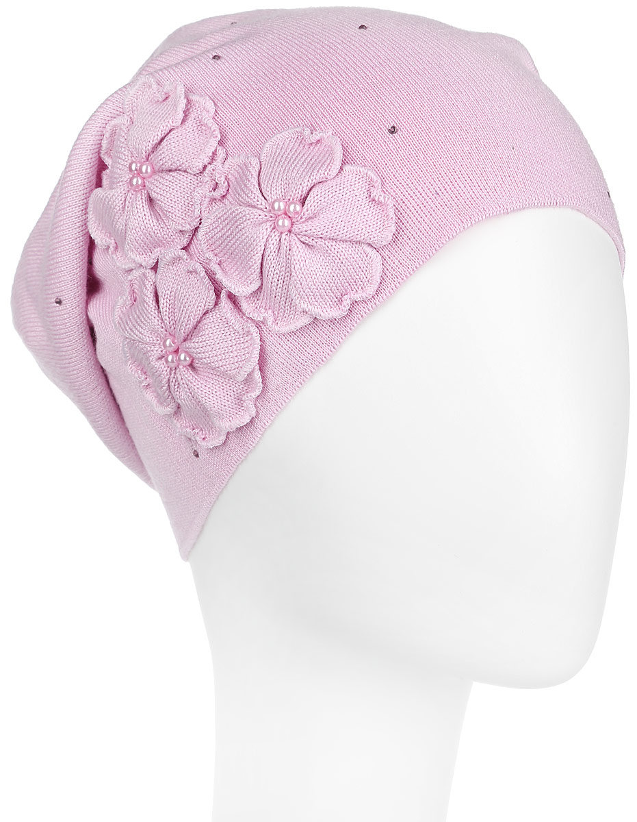 Шапка женская Flioraj, цвет: светло-розовый. 7-008-169. Размер 587-008-169Удлиненная женская шапка Flioraj отлично дополнит ваш образ в холодную погоду. Сочетание шерсти и акрила максимально сохраняет тепло и обеспечивает удобную посадку, невероятную легкость и мягкость. Шапка дополнена аппликацией в виде цветов с бусинами в центре, а также стразами. Привлекательная стильная шапка Flioraj подчеркнет ваш неповторимый стиль и индивидуальность. Уважаемые клиенты!Размер, доступный для заказа, является обхватом головы.