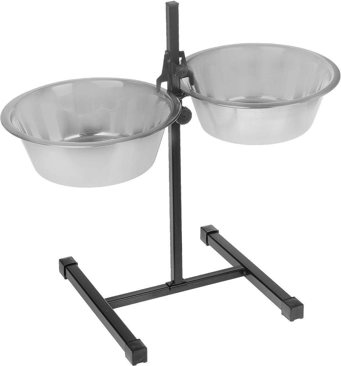 Миска для собак РЭМО  Рекс , двойная, с телескопической подставкой, 2 х 2,5 л - Аксессуары для кормления