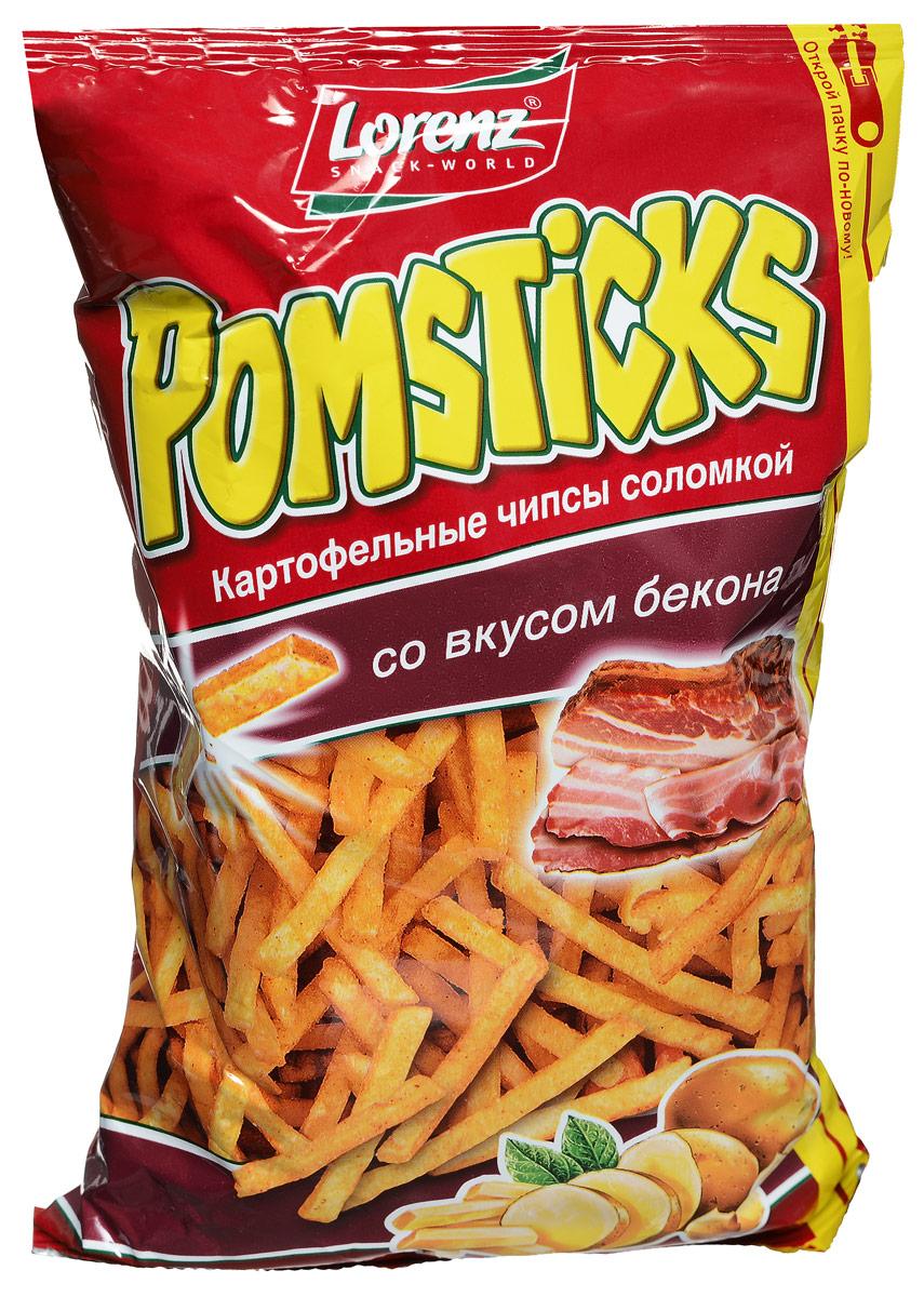 Lorenz Pomsticks картофельные чипсы со вкусом бекона, 100 гбзе061Lorenz Pomsticks картофельные чипсы в форме соломки, которые подкупают своим насыщенным вкусом бекона. Отборный цельный картофель нарезается тончайшими кусочками и обжаривается до золотистой корочки.