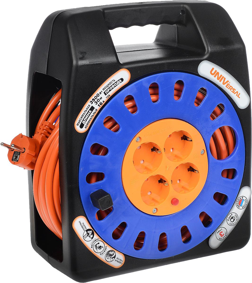Удлинитель UNIVersal, на катушке, с заземлением, цвет: черный, синий, 30 м83273Силовой удлинитель на катушке UNIVersal с заземлением пригодится в гараже, на приусадебном участке, при проведении строительных, ремонтных и монтажных работ. Позволяет подключить до четырех электроприборов. Рассчитан на напряжение 220В. Быстро сматывается и разматывается, экономя время пользователя, удобен в хранении. Провод с поливинилхлоридной изоляцией обеспечивает надежность и безопасность работы. Прочная рама придает надежность конструкции.Провод: ПВС 3 х 1,5 мм.