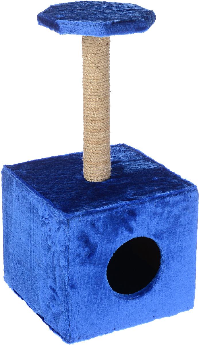 Домик-когтеточка ЗооМарк  Квадрат , с полкой, цвет: синий, бежевый, 36 х 36 х 75 см - Когтеточки и игровые комплексы