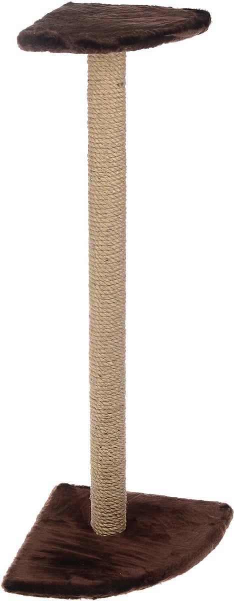Когтеточка  ЗооМарк , угловая, с полкой, цвет: темно-коричневый, высота 101 см - Когтеточки и игровые комплексы