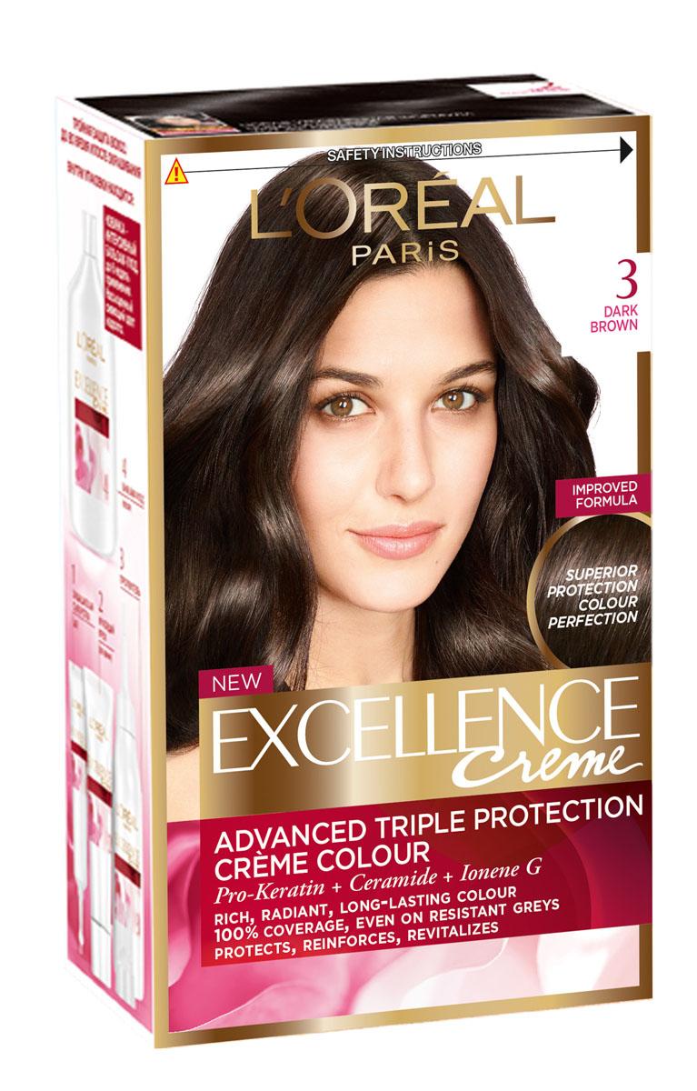 LOreal Paris Стойкая крем-краска для волос Excellence, оттенок 3, Темно-каштановыйA3671328Крем-краска для волос Экселанс защищает волосы до, во время и после окрашивания. Уникальная формула краскииз Керамида, Про-Кератина и активного компонента Ионена G, которые обеспечивают 100%-ное окрашивание седины и способствуют длительному сохранению интенсивности цвета. Сыворотка, входящая в состав краски, оказывает лечебное действие, восстанавливая поврежденные волосы, а густая кремовая текстура краски обволакивает каждый волос, насыщая его интенсивным цветом. Специальный бальзам-уход делает волосы плотнее, укрепляет их, восстанавливая естественную эластичность и силу волос.В состав упаковки входит: защищающая сыворотка (12 мл), флакон-аппликатор с проявителем (72 мл), тюбик с красящим кремом (48 мл), флакон с бальзамом-уходом (60 мл), аппликатор-расческа, инструкция, пара перчаток.1. Укрепляет волосы 2. Защищает их 3. Придает волосам упругость 3. Насыщеннный стойкий сияющий цвет 4. Закрашивает до 100% седых волос