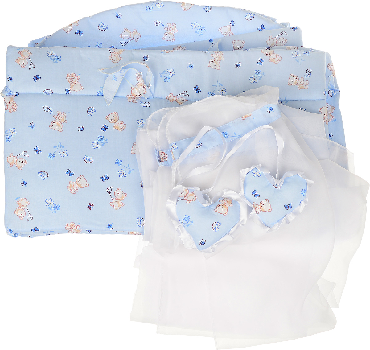 Фея Комплект в кроватку Мишки цвет голубой 2 предмета1047_голубойКомплект в кроватку Фея Мишки состоит из бортика и балдахина. Бортик в кроватку состоит из четырех частей и закрывает весь периметр кроватки. Бортик крепится к кроватке с помощью специальных завязок, благодаря чему его можно поместить в любую детскую кроватку. Бортик выполнен из натурального хлопка безупречной выделки. Деликатные швы рассчитаны на прикосновение к нежной коже ребенка. Борт оформлен изображениями забавных плюшевых медвежат.Балдахин, выполненный из полиэстера, может использоваться как для люльки, так и для кроватки. Сверху балдахин декорирован вставкой из хлопка с рисунком. Изделие оснащено двумя атласными лентами с мягкими игрушками в виде сердец на концах. Ленты завязываются на бант.