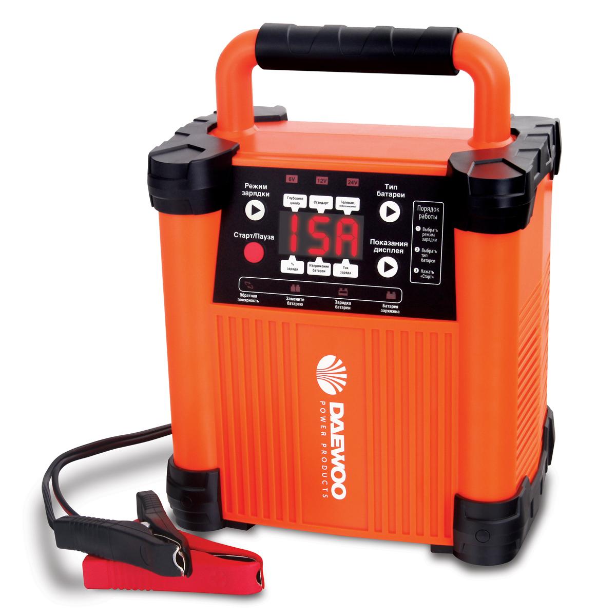 Интеллектуальное зарядное устройство Daewoo, 6/12/24 В. DW1500DW1500Зарядное устройство Daewoo - это простой в использовании аппарат, предназначенный для снабжения почти севших свинцово-кислотных аккумуляторов качественным электрическим зарядом. Эффективность и правильность данного процесса контролируется процессором 12 Bit ADC, который проводит диагностику подключаемой батареи, устанавливает подходящие рабочие параметры, а также сохраняет их для дальнейшей эксплуатации (в течение 12 часов). Устройство обладает высокопрочным корпусом закрытого типа, имеющим степень защиты IP20.Выходное напряжение: 6/12/24 ВЗарядный ток: 15 АЕмкость АКБ: до 300 А/чКоличество ступеней зарядки: 6Режим имитации АКБ: да Функция восстановления АКБ: даВстроенный тест АКБ: даВлагозащита: IP20Защита от перегрева: даРежим быстрого пуска: да