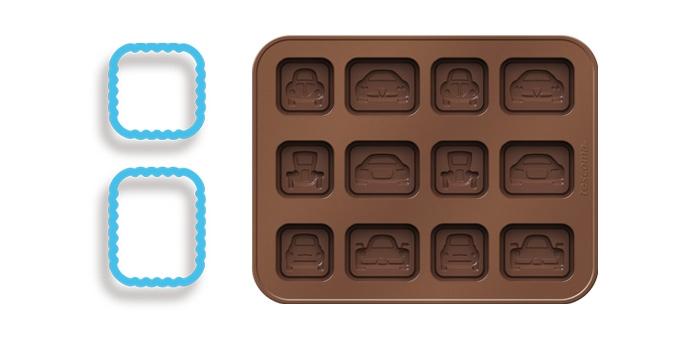 Форма для шоколада Tescoma Delicia. Silicone. Машинки, с подставкой, с 2 формами для печенья, 12 ячеек630961Форма Tescoma Delicia Silicone. Машинки отлично подходит для создания оригинальных шоколадных конфет и многих других деликатесов в домашних условиях. Форма изготовлена из отличного гибкого термостойкого силикона. Шоколад не прилипает и легко отделяется. В комплект входит практичная подставкой из пластика и две формы для печенья, также прилагаются рецепты. Форма подходит для холодильника, морозильной камеры, микроволновой печи и посудомоечной машины. Рецепты прилагаются.Количество ячеек: 12 шт. Размер формы для шоколада: 18 х 14 см.
