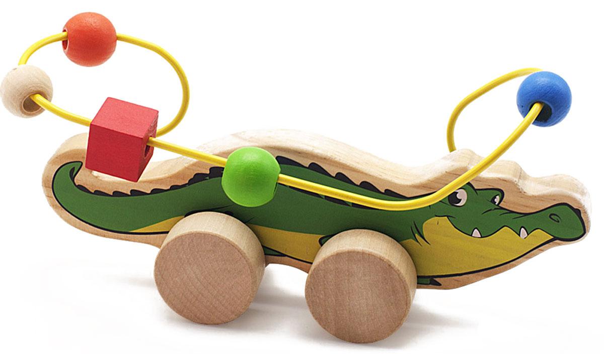 Мир деревянных игрушек Лабиринт-каталка Крокодил игрушка мир деревянных игрушек лабиринт буренка д384