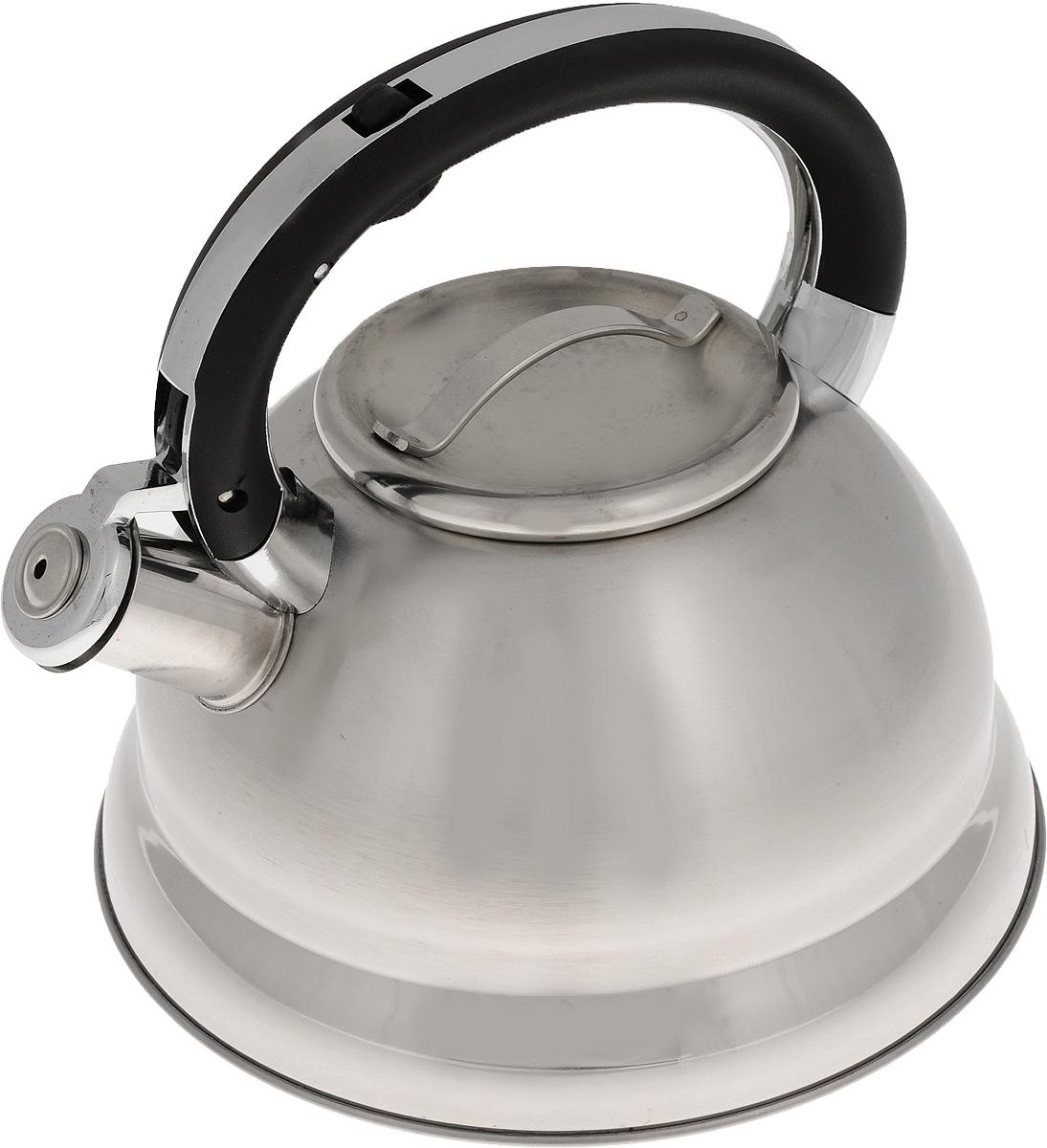 Чайник Mayer & Boch, со свистком, 2,6 л. 2241122411Чайник Mayer & Boch выполнен из высококачественной нержавеющей стали, что делает его весьма гигиеничным и устойчивым к износу при длительном использовании. Чайник оснащен неподвижной ручкой, изготовленной из цинкового сплава с нейлоном, и откидным свистком, который громким сигналом подскажет, когда вода закипела.Подходит для всех типов плит, кроме индукционных. Можно мыть в посудомоечной машине.Диаметр (по верхнему краю): 10,5 см. Диаметр основания: 22 см. Высота стенки: 13 см. Высота чайника (с учетом ручки и крышки): 21 см.
