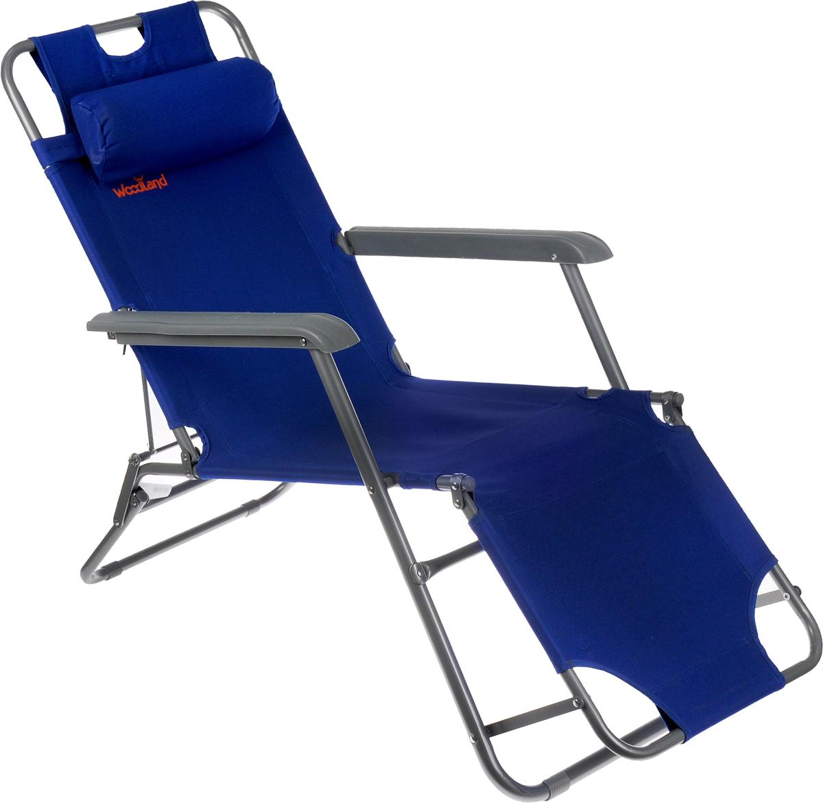 Кресло складное Woodland Lounger Oxford, цвет: синий, серый, 153 см х 60 см х 79 см0049670Складное кресло Woodland Lounger Oxford предназначено для создания комфортных условий в туристических походах, рыбалке и кемпинге.Особенности:Компактная складная конструкция.Прочный стальной каркас с покрытием, диаметр 19/25 мм.Прочная ткань Oxford обладает высокой износостойкостью.
