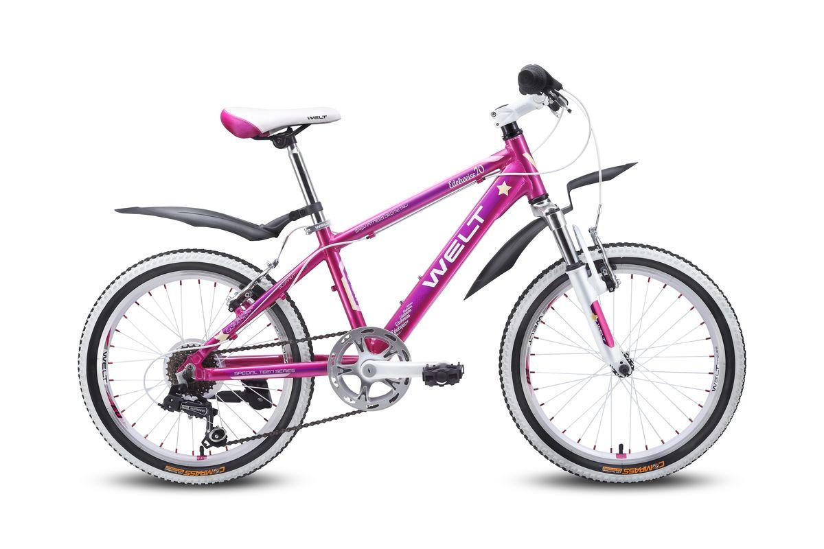Детский велосипед Welt Edelweiss 20, цвет: пурпурный, фиолетовый9333725115317Отличный выбор для девочек 6-8 лет. Алюминиевая рама с трубами сложного сечения обеспечивает высочайший уровень безопасности, а дизхайнерские решения в лучших традициях европейской школы, завоевавшей вкусы потребителей, придутся по душе как юным владелицам, так и их родителям. Яркие расцветки и стильные дополнительные элементы в цвет дизайна никого не оставят равнодушными. Амортизационная вилка и 7 скоростная трансмиссия Shimano добавят комфорта катанию, а подножка и крылья являются отличным дополнением к потребительским качествам этой модели.- Рама: Alloy 6061- Размер рамы, дюймы: one size- Диаметр колес: 20- Кол-во скоростей: 7- Тип вилки: амортизационная- Вилка: WELT ES-245 73 mm- Шифтеры: Shimano RS-35 R 7spd- Тип тормозов: V-brake- Тормоза: CB-141- Система: 42/34/24 T 152mm- Каретка: semi-cartridge- Кассета: TriDaimond FW217B- Тип рулевой колонки: 1-1/8 безрезьбовая- Вынос: alloy, A-Head, 80mm- Руль: steel low rise Ф25,4 560mm- Ободья: alloy, double wall- Покрышки: Wanda P1197 20x1,95- Втулки: YS w/QR- Подседельный штырь: steel Ф27,2 300mm- Цепь: KMC Z33- Подножка: боковая, к раме- Крылья: якорь/подседельник
