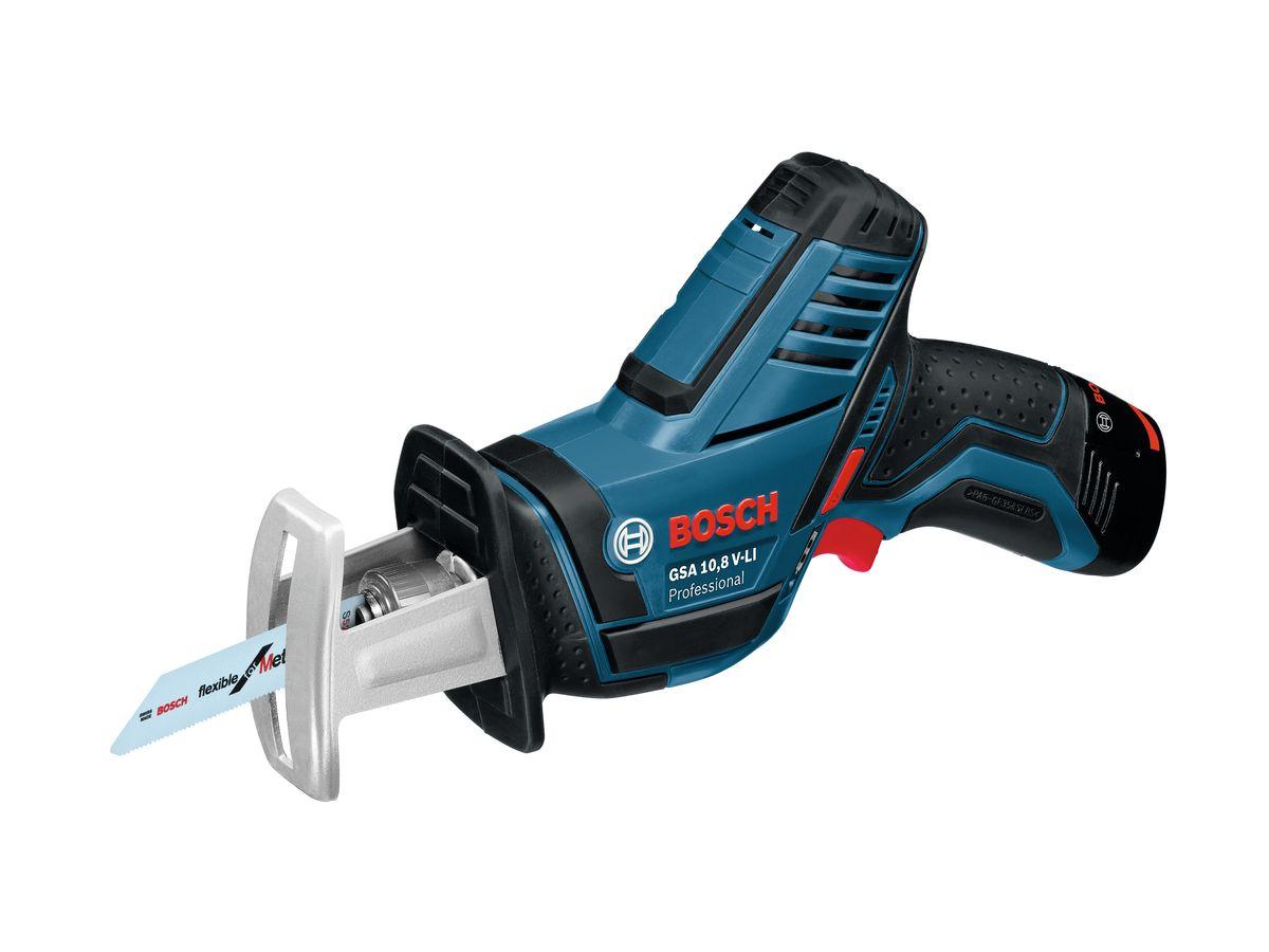 Сабельная пила Bosch GSA 10,8 V-Li L-Boxx, 2 аккумулятора060164L972Характеристики инструментаСистема Bosch SDS для быстрой и удобной замены пильных полотенУникальная литий-ионная технология класса Premium от Bosch для увеличения срока службы и исключительно долгой работы на одной зарядке аккумулятораBosch Electronic Cell Protection (ECP): система защиты аккумулятора от перегрузки, перегрева и глубокого разрядаПрактичный индикатор перегрузки предупреждает о возможной перегрузке инструмента при его длительном использованииВстроенная светодиодная подсветка для освещения рабочей зоны в тёмных местахБыстрозарядное устройство AL 1130 CV 2607225134Крышка для вкладыша для кейса L-BOXX под зарядное устройство 2608438032Пильное полотно по металлу S 522 EF 2608657726Пильное полотно Wood and Metal S 511 DF 2608657727Кейс L-BOXX 1021/2 вкладыша для кейса L-BOXX под зарядное устройство1/2 вкладыша для кейса L-BOXX под инструмент2 аккумулятора Li-Ion емкостью 2,0А•ч 1 600 Z00 02X