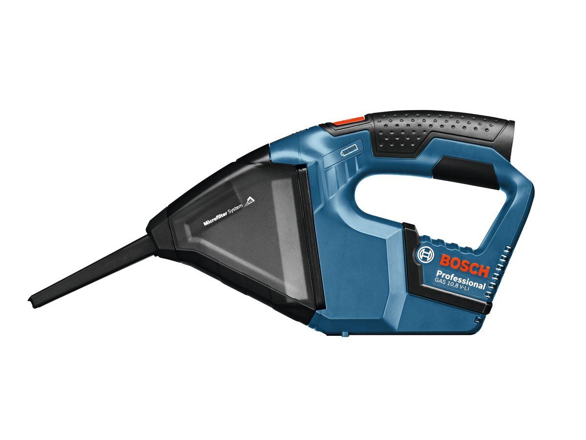 Ручной пылесос Bosch GAS 10,8 V-LI без аккумулятора и зарядного устройства 06019E302006019E3020Аккумуляторный пылесос Bosch GAS 10,8 V-LI (комплектация без аккумуляторной батареи и зарядного устройства) - самый мощный и компактный в своем классе. Он используется для уборки сухой пыли и опилок, например, после сверлильных и шлифовальных работ или в автомобиле. Благодаря прозрачному пылесборнику, можно контролировать уровень загрязненности. В комплект входит щелевая насадка, которая позволяет работать в труднодоступных местах.Напряжение аккумулятора: 10,8 ВРазрежение: 45 мБар