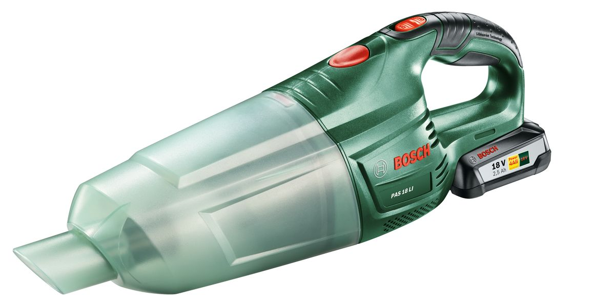Аккумуляторный пылесос Bosch PAS 18 LI Set. 06033B9002VT-1810(B)Bosch PAS 18 Li - универсальный аккумуляторный ручной пылесос с высокой мощностью всасывания.Мобильность, легкость и эффективность — это все доступно с мощным аккумулятором 18 В и высокой производительностью всасывания.Постоянная готовность к работе обеспечивается благодаря литий-ионной технологии оригинальных аккумуляторов.Для данного прибора имеется широкий набор принадлежностей (насадки, трубки) для различного применения. С их помощью вы можете комфортно осуществлять очистку полов, мягкой мебели и удаление пыли в труднодоступных местах.Bosch PAS 18 Li оснащен легко очищаемым пылесборником и высокоэффективным фильтром. Удобство использования также обеспечивается благодаря компактному исполнению и рукоятке с мягкой накладкой.Комплектация:1 Аккумуляторный блок (2.5 А*ч)Насадка для полаЩеточная насадкаБлок фильтраЩелевая насадкаУдлинительная трубка1-часовое зарядное устройство.