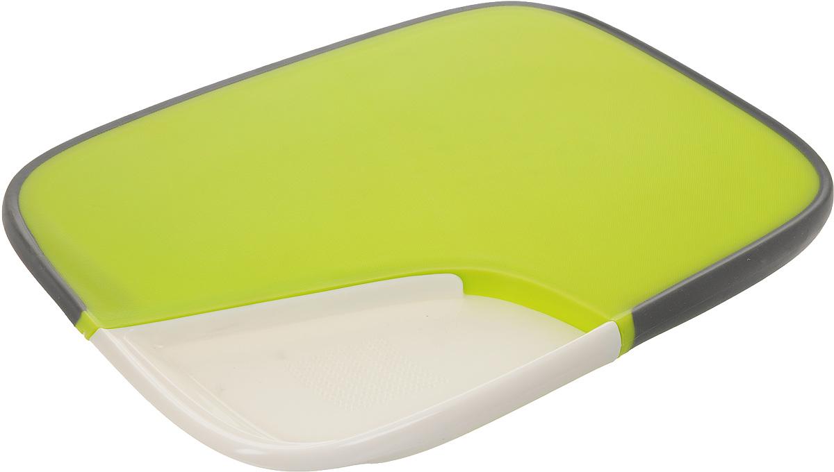 """Двухсторонняя разделочная доска """"Mayer & Boch""""  выполнена из высококачественного пищевого пластика и  оснащена силиконовым нескользящим краем для  комфортного использования. С одной стороны ровная  поверхность, с другой - специальные зубчики, которые  плотно зафиксируют и не дадут куску ветчины или  окороку выскользнуть из-под ножа. Также имеется  съемная часть, которая позволит нарезать, например,  чеснок или имбирь.  Такая разделочная доска идеально подходит для  нарезки, шинковки и сервировки любых продуктов.   Можно мыть в посудомоечной машине.  Размер доски: 37 х 28 см.  Высота доски: 2,3 см.  Размер съемной части: 17,5 х 13,5 х 2,3 см."""