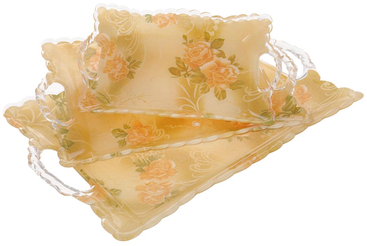 Набор подносов Mayer & Boch Чайная роза, 3 шт. 32363236Оригинальный набор Mayer & Boch Чайная роза состоит из трех подносов разного размера, оснащенных удобными ручками. Изделия, изготовленные из высококачественного пластика, украшены ярким изображением цветов и оформлены изящным рельефным узором по краю.Подносы отлично подойдут для красивой сервировки различных блюд, закусок и фруктов на праздничном столе. Набор подносов Mayer & Boch Чайная роза станет отличным подарком на любой праздник.Размеры малого подноса (с учетом ручек): 27,7 х 18,7 х 4 см.Размер среднего подноса (с учетом ручек): 36 х 24,5 х 3,7 см.Размер большого подноса (с учетом ручек): 44,5 х 29 х 4 см.