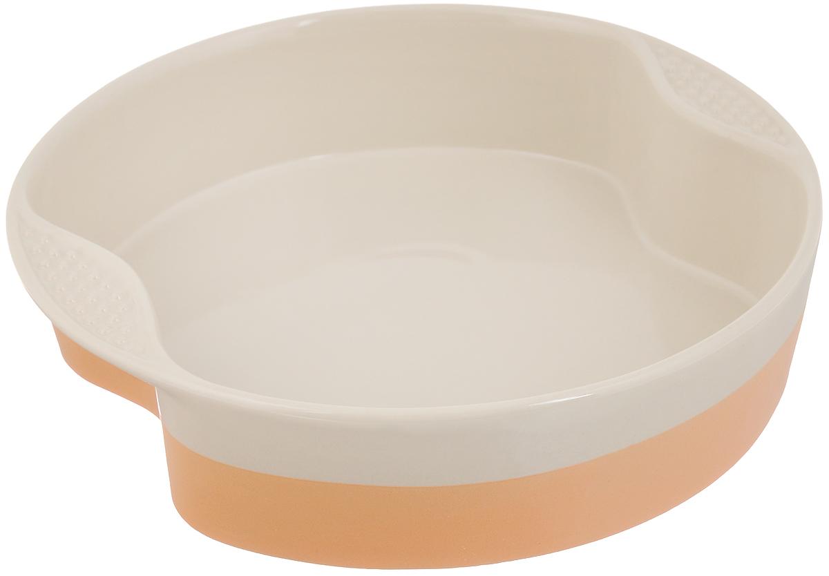 Форма для выпечки Mayer & Boch, круглая, керамическая, цвет: бежевый, персиковый, 29 х 29 см21771Форма для выпечки Mayer & Boch выполнена из керамики, благодаря чему пища не пригорает и не прилипает к стенкам посуды. Кроме того готовить можно с добавлением минимального количества масла и жиров. Керамическое покрытие также обеспечивает легкость мытья. Форма идеально подходит для выпечки кексов, пирогов. Изделие оснащено ручками.Можно мыть в посудомоечной машине. Подходит для использования в микроволновой печи и духовке. Подходит для хранения продуктов в холодильнике и морозильной камере.Внутренний размер формы: 27 х 23,5 см. Внешний размер формы (с учетом ручек): 29 х 29 см. Высота стенок формы: 6,8 см.