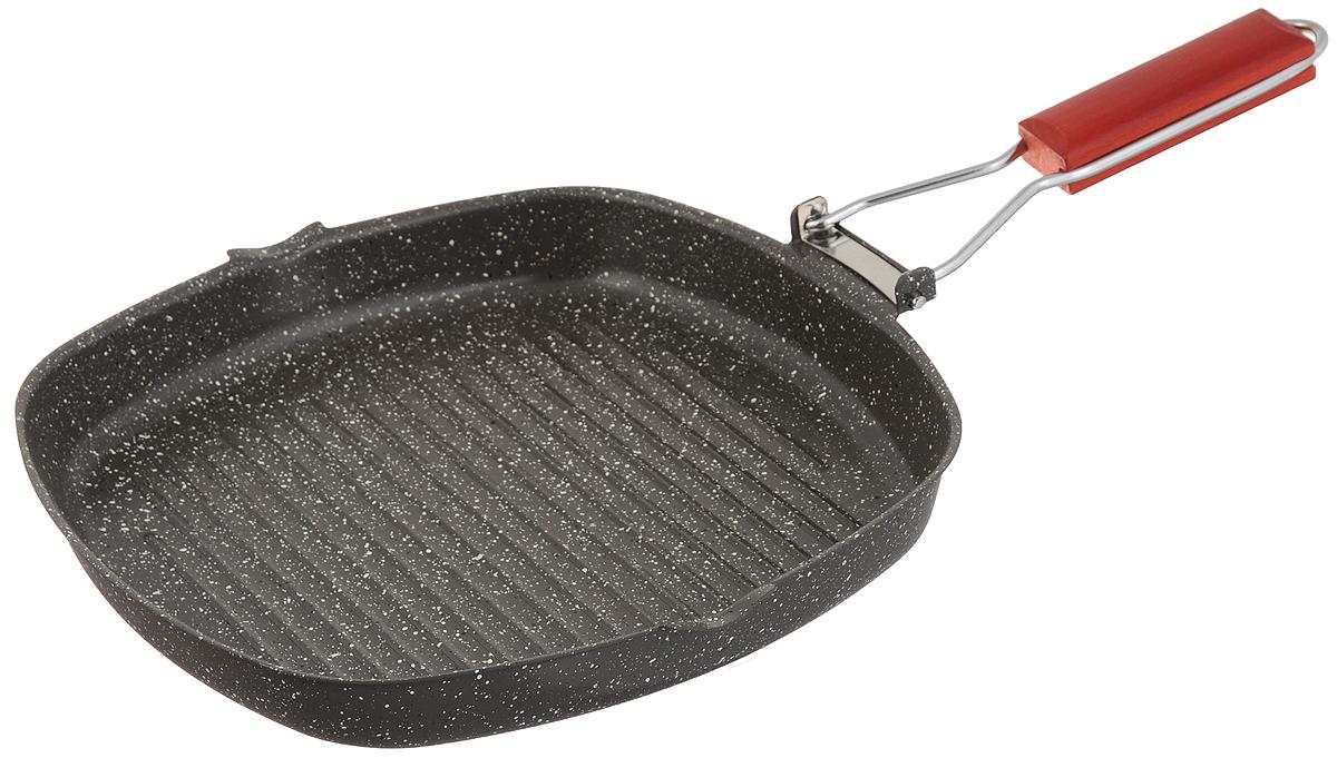 Сковорода-гриль Mayer & Boch, с антипригарным покрытием, со складной ручкой, 28 х 28 см. 2567325673Сковорода-гриль Mayer & Boch выполнена из высококачественной углеродистой стали. Она снабжена первоклассным антипригарным покрытием, препятствующим пригоранию, специальным рифленым дном для идеального контакта с поверхностью и складной деревянной ручкой для экономии места при хранении. Изделие имеет два носика для слива жидкости.Подходит для газовых, электрических, галогенных и индукционных плит.Длина ручки: 20 см.Размер сковороды-гриль: 28 х 28 х 4 см.