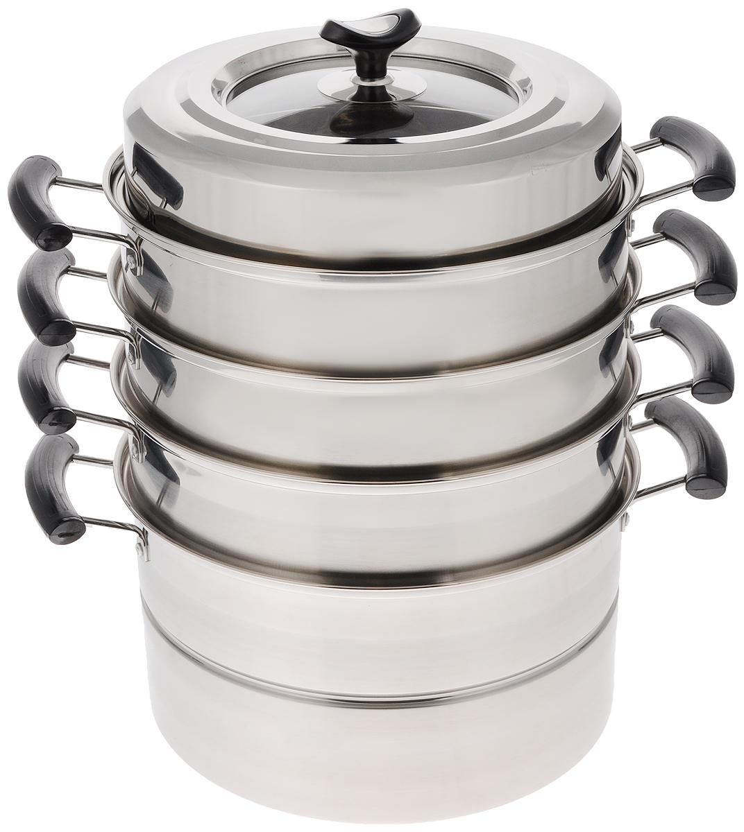 """Мантоварка """"Mayer & Boch"""" изготовлена из высококачественной нержавеющей стали (201), что делает посуду  износостойкой, прочной и практичной. Комбинация зеркальной и матовой полировки придает изделию особо  эстетичный внешний вид. Мантоварка имеет 4 уровня: кастрюлю для бульона и 3 съемные секции с отверстиями.   Изделие снабжено эргономичными бакелитовыми ручками, которые не нагреваются в процессе приготовления  пищи и обеспечивают комфортное использование. Крышка, выполненная из нержавеющей стали и жаропрочного  стекла, оснащена удобной ручкой и небольшими отверстиями для выпуска пара. Глубина изделия, диаметр отверстий, объем специально предназначены для приготовления мантов. В  мантоварке также можно готовить и другие блюда: овощи, котлеты или пельмени. Готовить на пару очень просто,  продукты не пригорают и не склеиваются, а готовое блюдо выходит рассыпчатым и ароматным. Питательные  элементы и витамины не растворяются в воде, а остаются в продуктах. Еда получается не только полезной, но и  по-настоящему вкусной.  Благодаря многоуровневой конструкции, в такой мантоварке можно приготовить сразу до четырех различных  блюд.  Подходит для газовых, электрических и стеклокерамических плит.  Внутренний диаметр кастрюли (по верхнему краю): 28 см.  Диаметр отверстий секции мантоварки: 6 мм.  Высота стенки кастрюли: 16 см.  Высота стенки секции: 9 см.  Ширина кастрюли (с учетом ручек): 39,5 см.  Общая высота мантоварки (с учетом крышки): 43 см.  Общая высота мантоварки (без учета крышки): 34 см."""