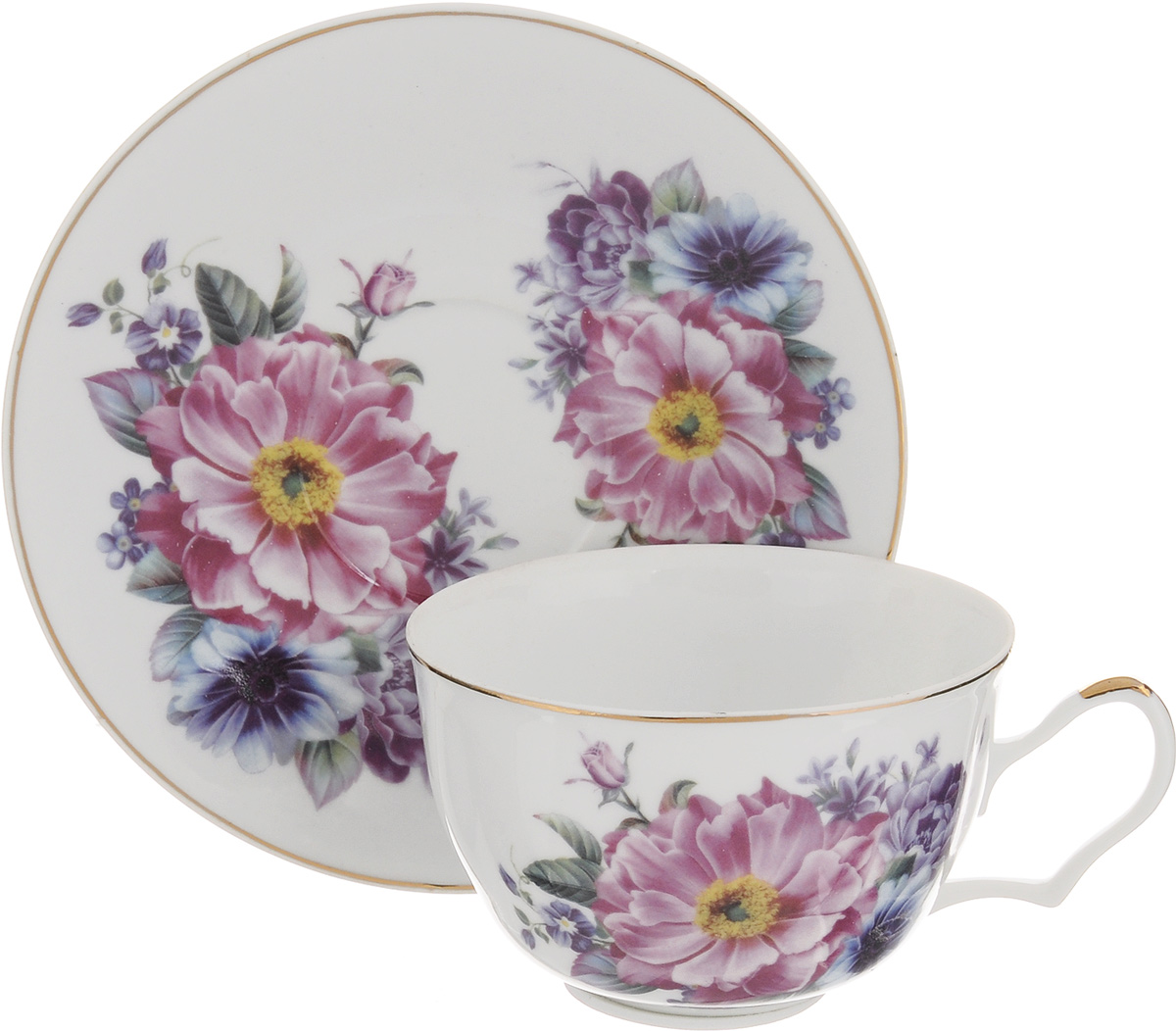 Чайная пара Loraine, 2 предмета. 2458524585Чайная пара Loraine выполнена из высококачественной керамики. Чашка и блюдце украшены ярким изображением цветов. Изящный дизайн и красочность оформления придутся по вкусу и ценителям классики, и тем, кто предпочитает утонченность и изысканность. Чайная пара - идеальный и необходимый подарок для вашего дома и для ваших друзей в праздники, юбилеи и торжества. Она также станет отличным корпоративным подарком и украшением любой кухни. Объем чашки: 250 мл. Диаметр чашки по верхнему краю: 9,5 см. Высота чашки: 6 см.Диаметр блюдца: 15,5 см. Высота блюдца: 1,8 см.