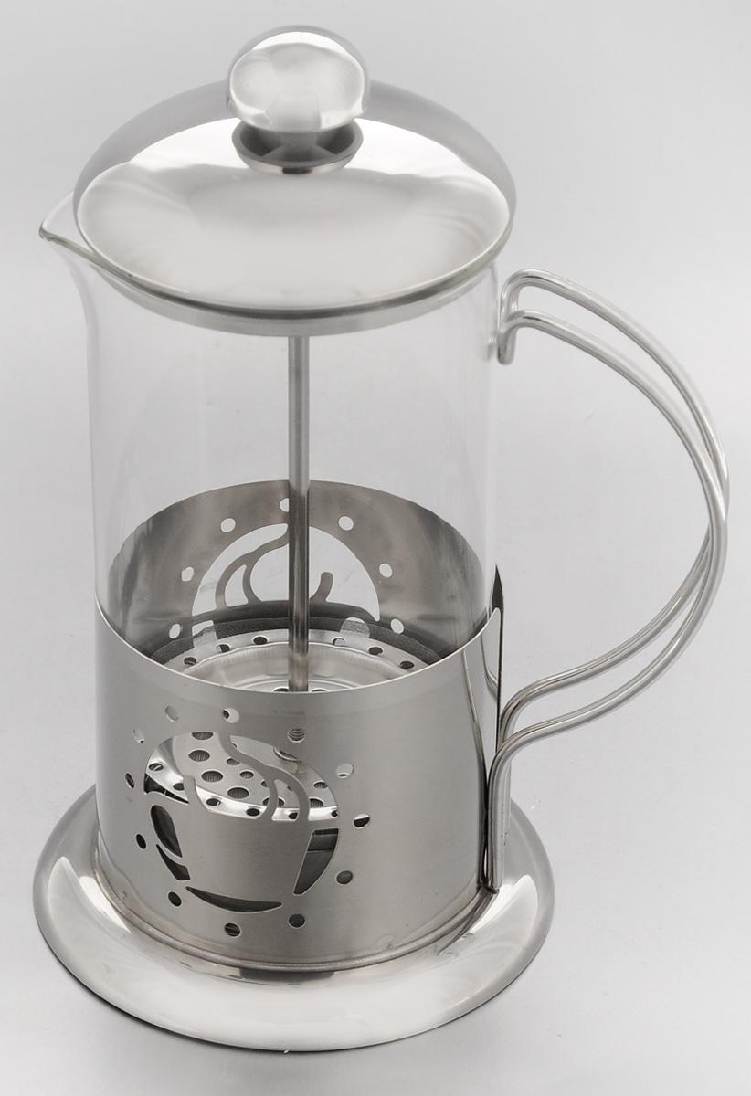 Френч-пресс Mayer & Boch, 600 мл. 2493324933Френч-пресс Mayer & Boch позволит быстро и простоприготовить свежий и ароматный чай или кофе. Колбаизготовлена из высококачественного жаропрочногостекла, устойчивого к окрашиванию, царапинам итермошоку. Фильтр-поршень из нержавеющей сталивыполнен по технологии press-up для обеспеченияравномерной циркуляции воды. Подставка изнержавеющей стали декорирована оригинальнойперфорацией в виде чашки. Готовить напитки с помощью френч-пресса оченьпросто. Насыпьте внутрь заварку и залейте кипятком.Остановить процесс заваривания легко. Для этогонужно просто опустить поршень, и заварка уйдет вниз,оставляя вверху напиток, готовый к употреблению.Френч-пресс - это совершенный чайник дляежедневного использования.Диаметр колбы: 9 см.Диаметр основания френч-пресса: 11 см.Высота (с учетом крышки): 21 см.