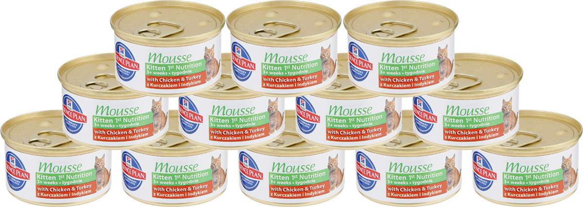Консервы для котят Hills Kitten, питательный мусс с курицей и индейкой, 85 г х 12 шт2387Консервы Hills Kitten - это полноценное, сбалансированное питание, приготовленное из ингредиентов высокого качества. Без добавления красителей и консервантов. Питание предназначено для растущих котят после отъема от матери до 1 года со вкусом курицы и индейки. Рацион содержит эксклюзивный комплекс антиоксидантов для поддержания иммунной системы вашего питомца.Ключевые преимущества: - Повышенный уровень DHA (докозагексаеновая кислоты), которая содержится в материнском молоке и является жизненно важным структурным компонентом головного мозга. - Повышенное содержание протеинов высокого качества способствует правильному росту и формированию мускулатуры. - Превосходные вкусовые характеристики. - Кислая рН мочи 6,2 - 6,4 поддерживает здоровье мочевыводящих путей.- Высокое содержание антиоксидантов нейтрализует действие свободных радикалов и поддерживает иммунитет.Состав: курица (11%), индейка (16%), свинина, кукурузная мука, рыбий жир, минералы, гидролизат белка, витамины, таурин, микроэлементы. Питательные вещества : протеин 10,1%, жиры 7,5%, углеводы (БЭВ) 3,8%, клетчатка (общая) 0,3%, влага 76,5%, кальций 0,26%, фосфор 0,25%, натрий 0,13%, калий 0,2%, магний 0,02%, омега-3 жирные кислоты 0,53%, омега-6 жирные кислоты 1,49%, таурин 1 446 мг/кг. Энергетическая ценность 100 г: 112 ккал. Вес банки: 85 г.Товар сертифицирован.