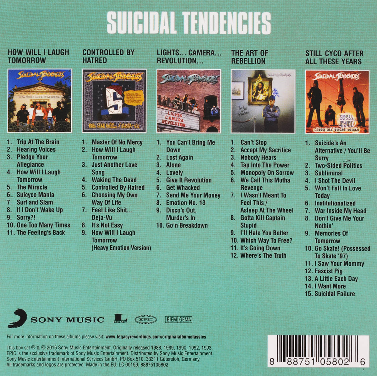 Suicidal Tendencies.  Original Album Classics (5 CD) Warner Music,Sony Musik Entertainment