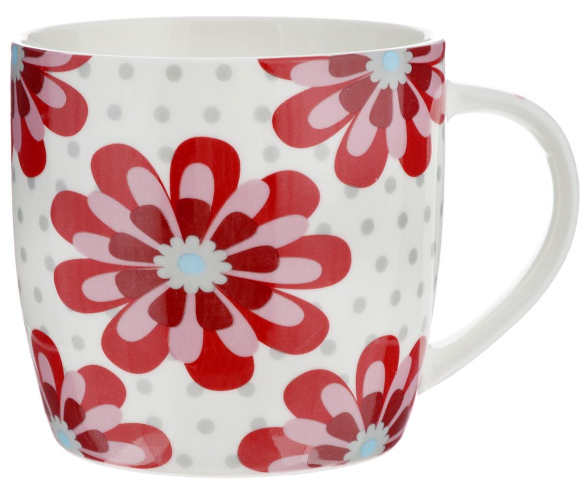 Кружка Loraine, цвет: белый, красный, 320 мл. 2448324483Оригинальная кружка Loraine выполнена из высококачественного костяного фарфора и оформлена красочным рисунком. Она станет отличным дополнением к сервировке семейного стола и замечательным подарком для ваших родных и друзей.Диаметр кружки (по верхнему краю): 8,5 см.