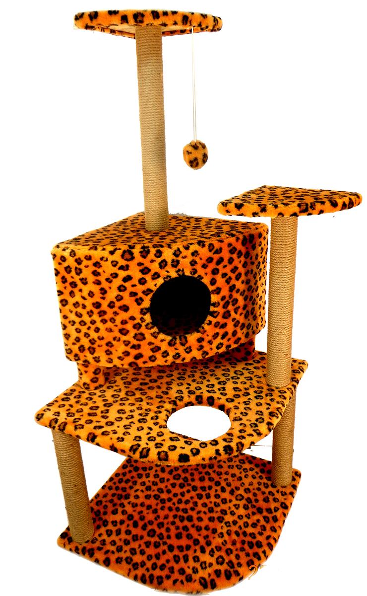 Игровой комплекс для кошек Меридиан, с домиком и когтеточкой, цвет: леопардовый, 55 х 53 х 150 смД441 ЛеИгровой комплекс для кошек Меридиан выполнен из высококачественного ДВП и ДСП и обтянут искусственным мехом. Комплекс имеет 3 яруса. Ваш домашний питомец будет с удовольствием точить когти о специальные столбики, обтянутые джутом. А отдохнуть он сможет на полках или в домике. На одной из полок расположена игрушка, которая еще сильнее привлечет внимание питомца.Общий размер: 55 х 53 х 150 см.Размер домика: 42 х 42 х 31 см.Размер полок: 26 х 26 см.Размер нижнего яруса: 55 х 53 см.