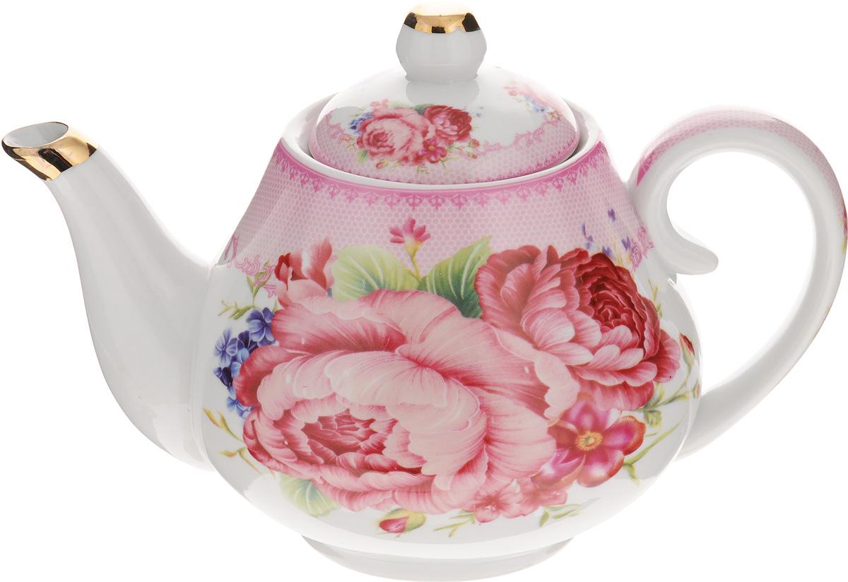 Чайник заварочный Loraine Розы, 1 л. 2455924559Заварочный чайник Loraine Розы изготовлен из высококачественной керамики. Внешние стенки оформлены красочным изображением цветов. Отдельные элементы украшены золотистой эмалью. Чайник изысканно украсит стол к чаепитию и порадует вас лаконичным дизайном и качеством исполнения. Чайник упакован в подарочную коробку. Диаметр чайника по верхнему краю: 8 см. Высота чайника (с учетом крышки): 14 см.