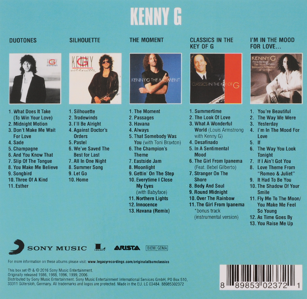 Kenny G.  Original Album Classics (5 CD) Sony Music Entertainment, Inc.,Sony Music Entertainment Germany GmbH