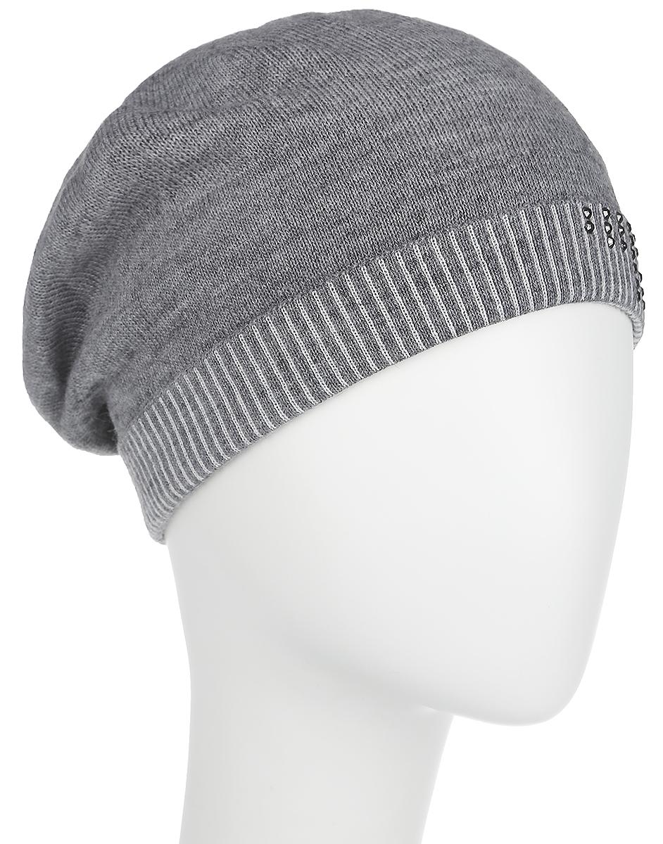 Шапка женская Fabretti, цвет: серый. 2012-7-33/22. Размер универсальный2012-7-33/22Стильная женская шапка Fabretti дополнит ваш наряд и не позволит вам замерзнуть в холодное время года. Шапка выполнена из высококачественной комбинированной пряжи, что позволяет ей великолепно сохранять тепло и обеспечивает высокую эластичность и удобство посадки. Шапка оформлена сверкающими стразами и оригинальным цветочным орнаментом, сзади имеет декоративную складку. Такая шапка станет модным и стильным дополнением вашего зимнего гардероба, великолепно подойдет для активного отдыха и занятия спортом. Она согреет вас и позволит вам подчеркнуть свою индивидуальность!