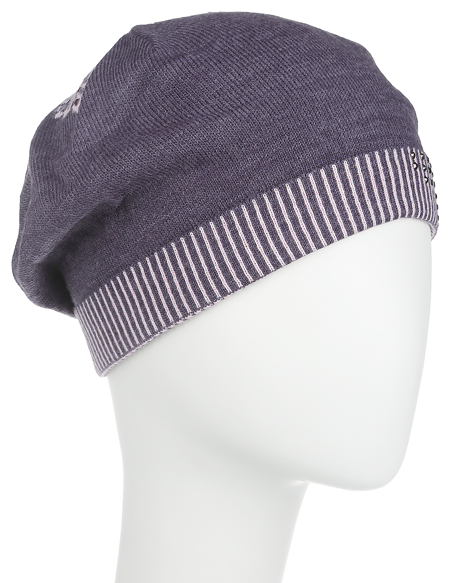 Шапка женская Fabretti, цвет: сиреневый. 2012-7-55/39. Размер универсальный2012-7-55/39Стильная женская шапка Fabretti дополнит ваш наряд и не позволит вам замерзнуть в холодное время года. Шапка выполнена из высококачественной комбинированной пряжи, что позволяет ей великолепно сохранять тепло и обеспечивает высокую эластичность и удобство посадки. Шапка оформлена сверкающими стразами и оригинальным цветочным орнаментом, сзади имеет декоративную складку. Такая шапка станет модным и стильным дополнением вашего зимнего гардероба, великолепно подойдет для активного отдыха и занятия спортом. Она согреет вас и позволит вам подчеркнуть свою индивидуальность!