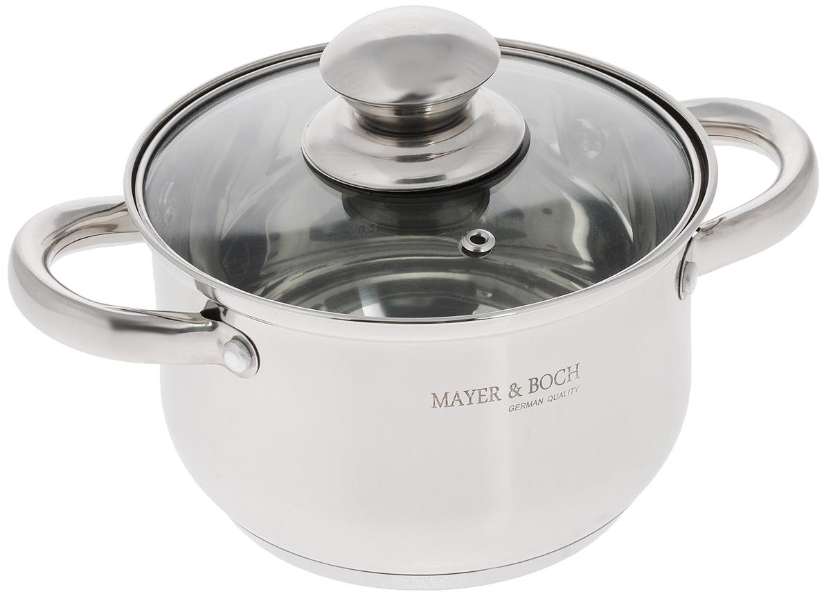 Кастрюля Mayer & Boch с крышкой, 2,1 л. 2143121431Кастрюля Mayer & Boch изготовлена из высококачественной нержавеющей стали с зеркальной полировкой. Многослойное капсулированное дно аккумулирует тепло, способствует быстрому закипанию и приготовлению пищи даже при небольшой мощности конфорок.Кастрюля оснащена удобными ручками из нержавеющей стали. Ручки прикреплены к корпусу на клепки, что обеспечивает прочность, надежность и минимальный нагрев. Крышка, выполненная из термостойкого стекла, позволит вам следить за процессом приготовления пищи. Крышка оснащена металлическим ободом и отверстием для выпуска пара. Кастрюля идеальна для приготовления здоровой пищи с минимальным количеством жира, что обеспечивает снижение потери полезных витаминов, минеральных веществ и сохраняет аромат приготовляемых блюд. Кастрюля очень удобна в использовании, практична и элегантна, ее легко чистить и мыть. Кастрюлю можно использовать на любых видах плит, включая индукционные, а также мыть в посудомоечной машине. Внутренний диаметр кастрюли (по верхнему краю): 16 см. Высота стенки: 11 см. Ширина (с учетом ручек): 24 см.