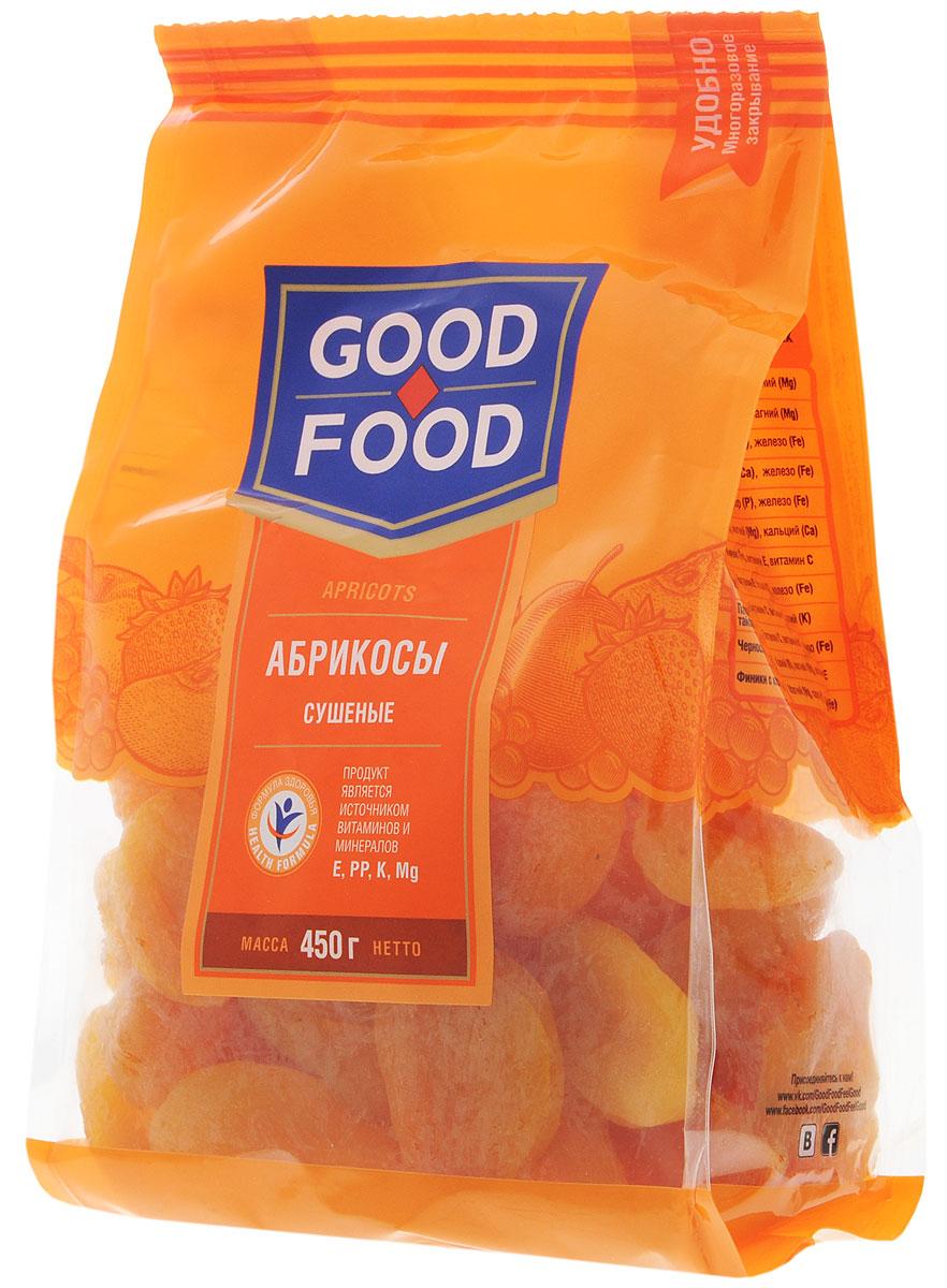 Good Food абрикосы сушеные,450г4620000671718Сушеные абрикосы обладают высокими вкусовыми качествами, быстро утоляют чувство голода, обогащают организм витаминами и микроэлементами, оказывают лечебный эффект при целом ряде болезней, делают человека бодрым, сильным и работоспособным.