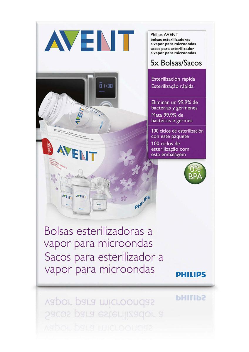 Philips Avent Пакеты для стерилизации в микроволновой печи, 5 шт SCF297/05 подогреватели и стерилизаторы babyono пакеты для стерилизации в микроволновой печи 5 шт