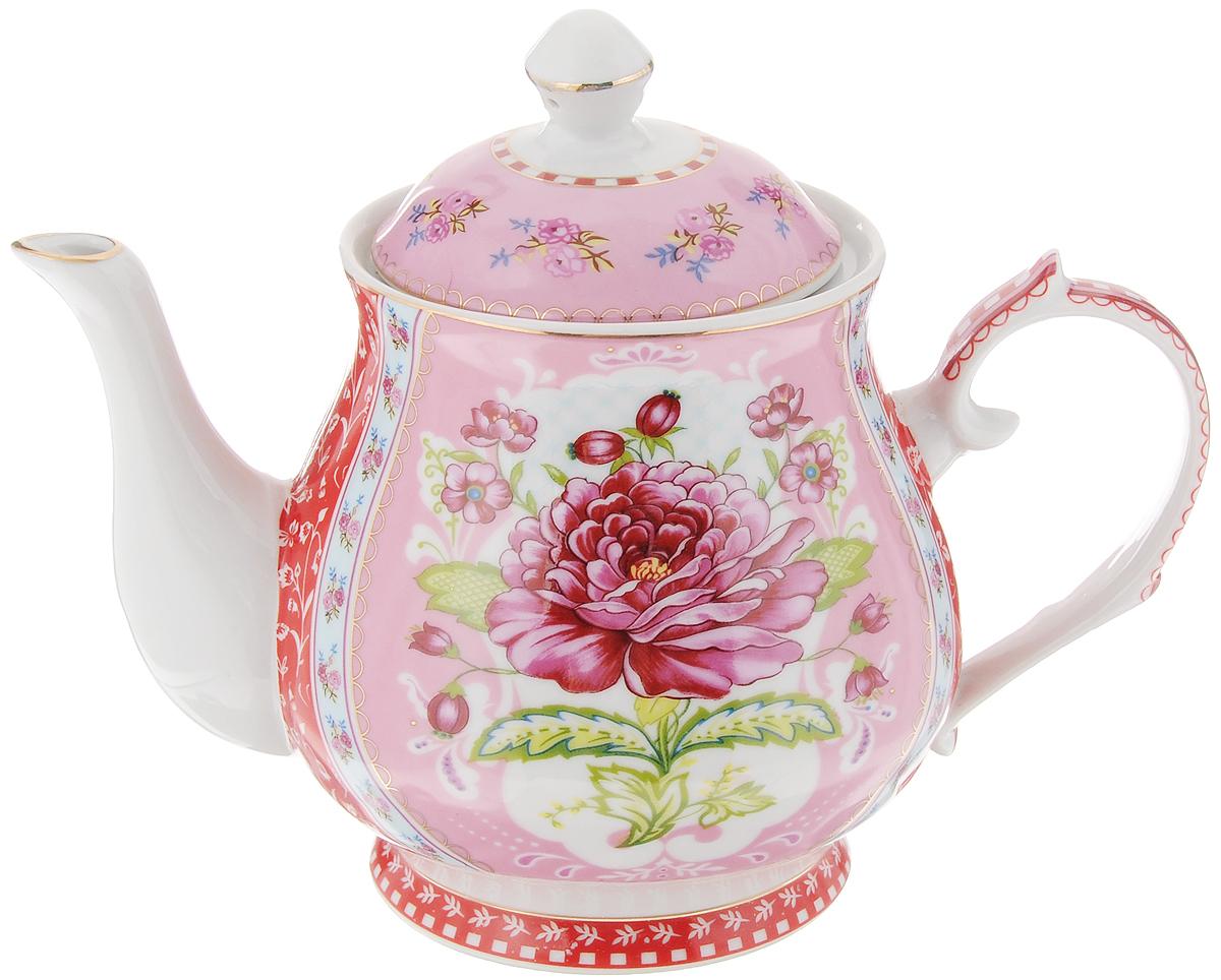 Чайник заварочный Loraine, 800 мл. 2457424574Заварочный чайник Loraine изготовлен из керамики белого цвета. Чайник декорирован изображением цветов и изысканным орнаментом, носик чайника и крышка оформлены золотистой эмалью. Заварочный чайник поможет вам в приготовлении вкусного и ароматного чая, а также станет украшением вашей кухни. Яркий дизайн придает чайнику особый шарм, он удобен в использовании и понравится каждому. Такой заварочный чайник станет приятным и практичным подарком на любой праздник. Чайник упакован в подарочную коробку. Диаметр (по верхнему краю): 9 см. Высота (без учета крышки): 11,5 см.