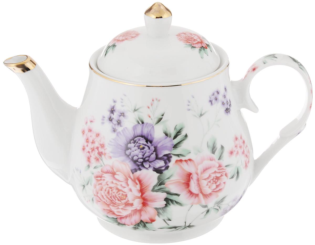 Чайник заварочный Loraine, 1,1 л. 2457124571Заварочный чайник Loraine изготовлен из керамики белого цвета. Чайник декорирован изображением цветов, носик чайника и крышка оформлены золотистой эмалью. Заварочный чайник поможет вам в приготовлении вкусного и ароматного чая, а также станет украшением вашей кухни. Яркий дизайн придает чайнику особый шарм, он удобен в использовании и понравится каждому. Такой заварочный чайник станет приятным и практичным подарком на любой праздник. Чайник упакован в подарочную коробку. Диаметр (по верхнему краю): 9,5 см. Высота (без учета крышки): 13 см.