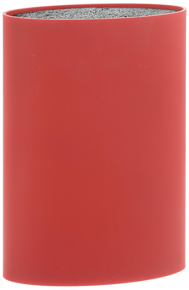 Подставка для ножей Mayer & Boch, цвет: красный, высота 22 см24896Подставка для ножей Mayer & Boch представляет собой емкость овальной формы с гибкими полипропиленовыми стержнями внутри. Это позволяет хранить ножи любой формы, вне зависимости от их размеров или формы лезвия. Размещайте ножи в любом месте блока-подставки, просто воткнув их в нее. Вы также можете комбинировать ножи из разных наборов. Цветной пластиковый корпус подставки имеет покрытие Soft-touch. Подставка сохранит остроту ножей за счет того, что ножи не царапаются об нее.Эта легкая, безопасная и удобная подставка отлично дополнит интерьер кухни.Стержни можно мыть в посудомоечной машине.